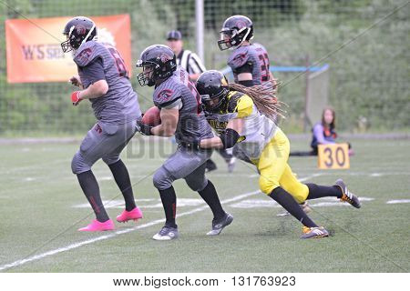 JIHLAVA 29/05/2016 _ 5.round of Czech Football League Division IV between the teams and Vysocina Gladiators and Zlín Golems.