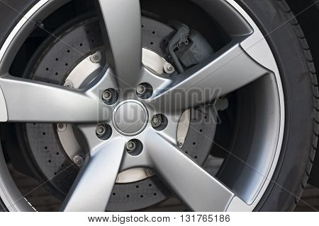 Wheel closeup with brake disc and caliper alloy wheels poster