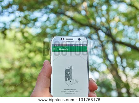 MONTREAL CANADA - MAY 23 2016 : Google Hangouts application on Samsung S7 screen. Hangouts allows to make voice calls and send sms mms messages.