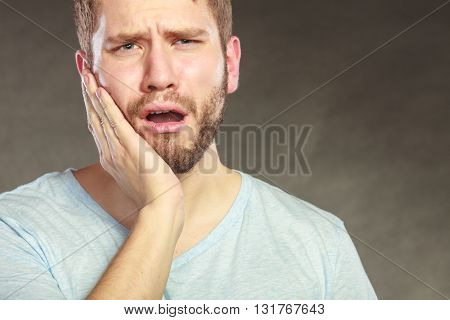 Man Suffering From Toothache Tooth Pain.