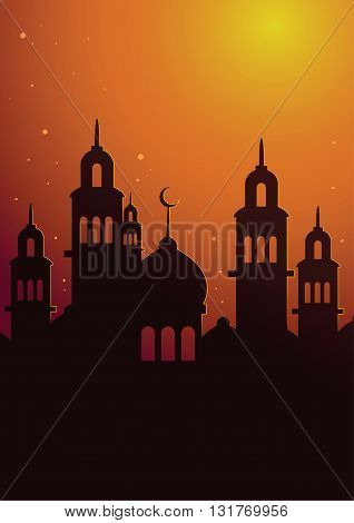 Vector stock of islamic mosque silhouette in sunset sky poster background
