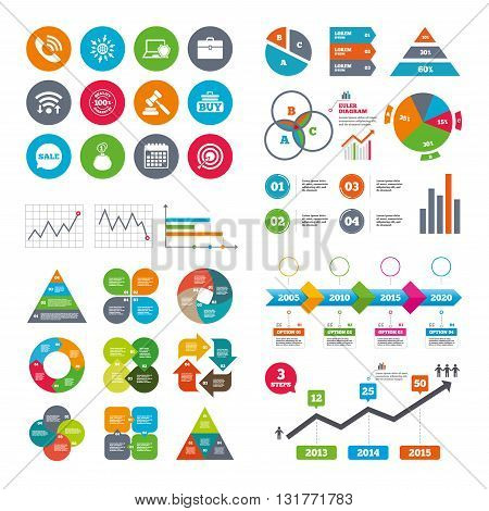 Wifi, calendar and web icons. Online shopping, e-commerce and business icons. Auction, phone call and sale signs. Cash money, case and target symbols. Diagram charts design.