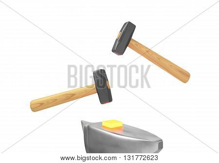 The symbolic image of two hammers and anvils to work on forging hot metal. 3D rendering.