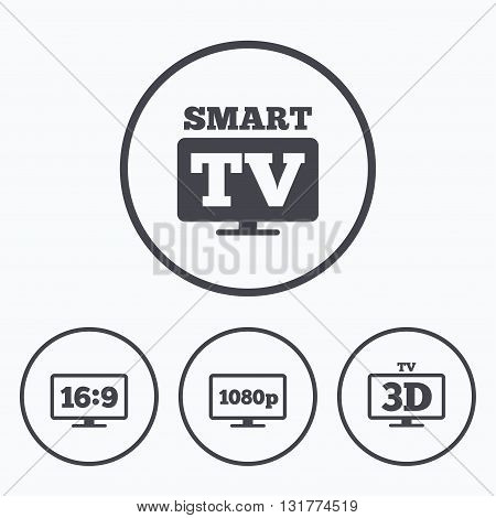 Smart TV mode icon. Aspect ratio 16:9 widescreen symbol. Full hd 1080p resolution. 3D Television sign. Icons in circles.