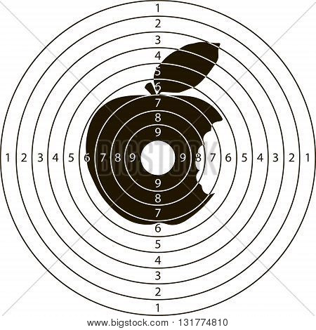 shooting target bitten Apple for the shooting range small arms made in the vector