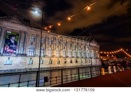 Berlin Germany - May 16 2016: night view of the Bode Museum in Berlin. It is one of the groups of museums on the Museum Island and with the others listed by UNESCO world heritage sites