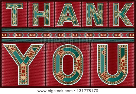 Marquetry Style Ornamental Ruby Red Thank You Sign