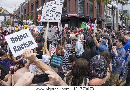SAN DIEGO USA - MAY 27 2016: Hundreds of protesters gather in the gaslamp area to display their thoughts about Donald Trump's presidential campaign at an anti-Trump demonstration.