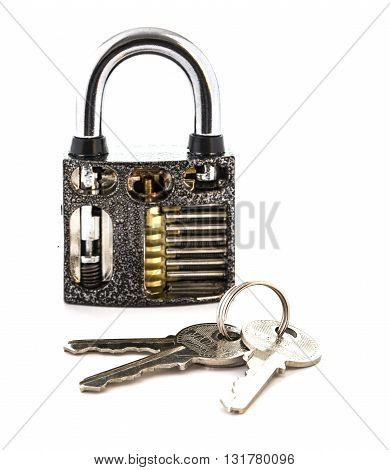 Cut Away Padlock with keys showing how a Padlock Works on a White Background