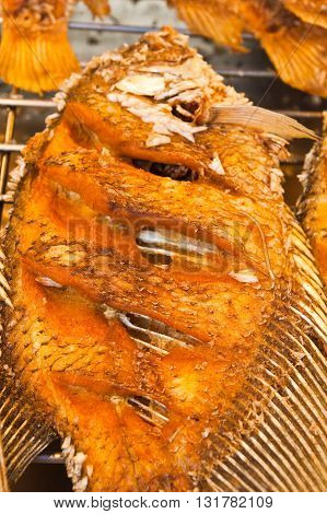 close up of fresh tilapia fried fish