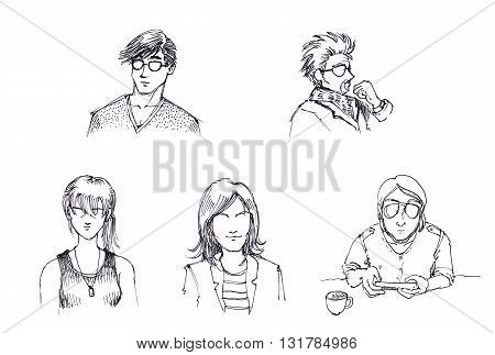 Chracters Of People In Different Style Pen Drawing Illustration