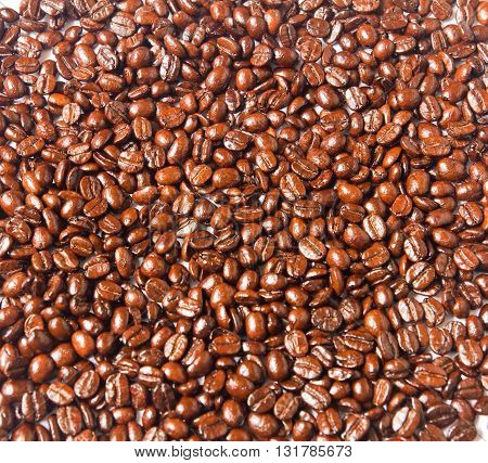 close up of brown coffee beans for background
