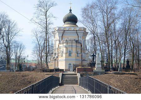SAINT-PETERSBURG, RUSSIA - MARCH 30, 2016: Nikolskoye cemetery and the church of St. Nicholas, april day. Alexander Nevsky Lavra