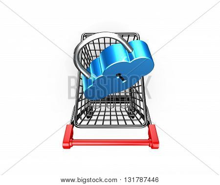 Lock On Shopping Cart, Cloud Connecting Security Concept, Ed Illustration