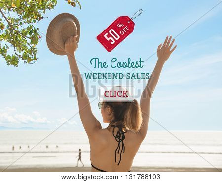 Promotion Discount haft Price Tag Campaign the last summer weekend concept.