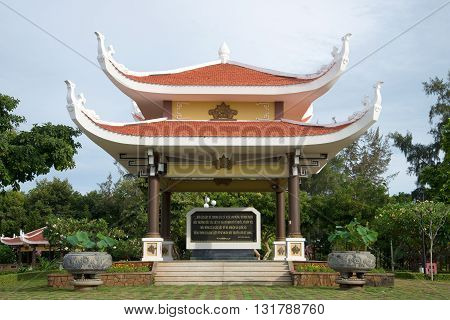 VUNG TAU, VIETNAM - DECEMBER 21, 2015: Gazebo Pagoda with a quote from the writings of Ho Chi Minh in Memorial Complex in the pantheon of Ho Chi Minh. Historical landmark of the city Vung Tau, Vietnam