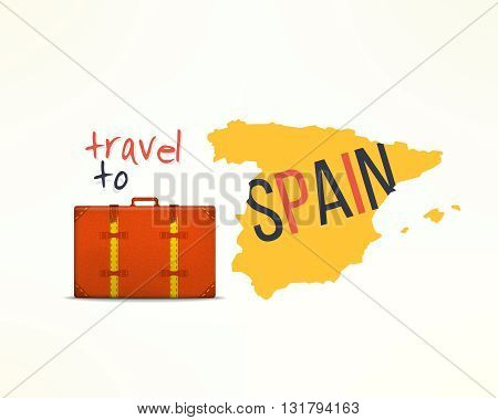 Travel to spain concept. Spanish traveler background. Spain map with traveling suitcase.