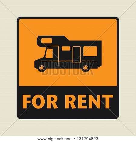 Camper For Rent icon or sign vector illustration