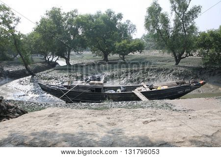 CANNING TOWN, WEST BENGAL, INDIA - JANUARY 19: Boats of fishermen stranded in the mud at low tide on the river Malta near Canning Town, India on January 19, 2009.