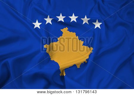 Waving Flag of Kosovo, with beautiful satin background