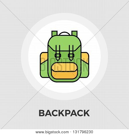 Backpack icon vector. Flat icon isolated on the white background. Editable EPS file. Vector illustration.
