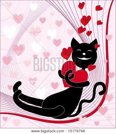 Love The Black Cat With Red Heart On A Pink Background