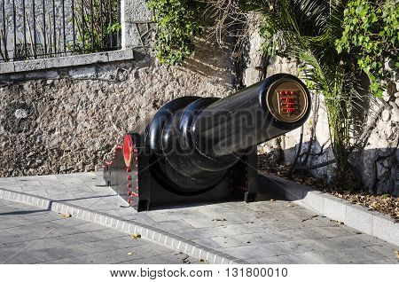 View of 30 tonne gun on street in Gibraltar.