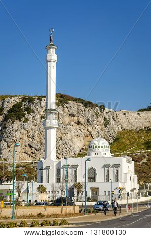 Gibraltar - March 18 2012: View of the Ibrahim-al-Ibrahim Mosque also known as the King Fahd bin Abdulaziz al-Saud Mosque or the Mosque of the Custodian of the Two Holy Mosques is a mosque located at Europa Point in the British overseas territory of Gibra