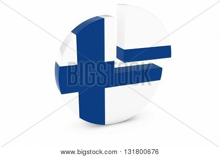 Finnish Flag Pie Chart - Flag of Finland Quarter Graph 3D Illustration poster