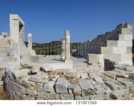 Demetra temple ruins in Naxos island Greece