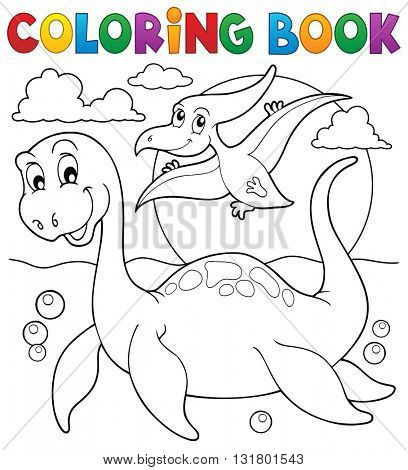 Coloring book dinosaur theme 7 - eps10 vector illustration.