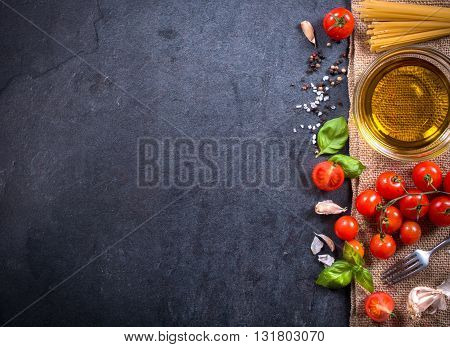 Photos of cooking concept on rustic background