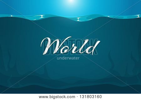 Underwater vector background. Cartoon comic art sea or ocean underwater background. Deep underwater in river or lake