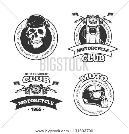 Vintage vector motorcycle or motorbike club logo set. Chopper helmet and skull for motorcycle club