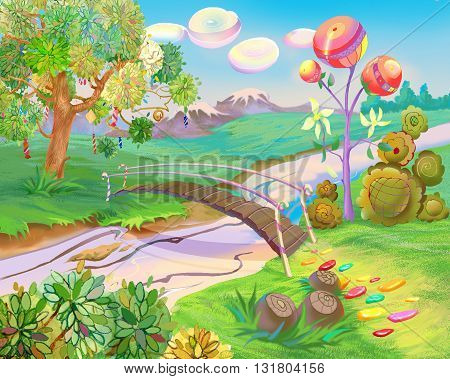 Digital Painting Illustration of a Exotic Dreamland. Fantastic Cartoon Style Character Fairy Tale Story Background Card Design