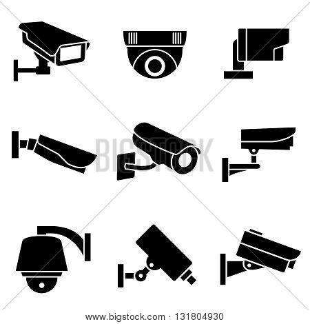 Video surveillance security cameras, CCTV vector icons. Surveillance camera for safety and protection signs