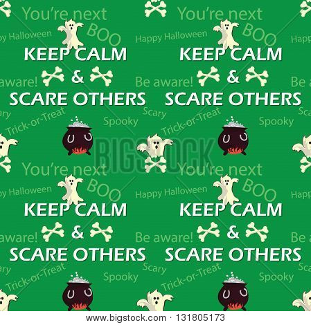 Halloween pattern with skulls, spooks and witches's Cauldron, also for textile industry, wrapping paper. Print colors used. Pattern can be found in swatches