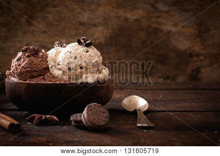 Sweet homemade ice cream on rustic background