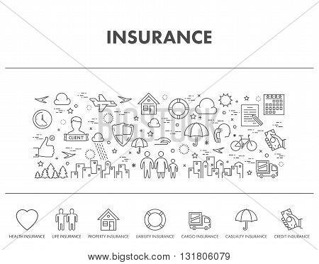 Outline design concept web banner for insurance. Health insurance icons. Life insurance icons. Credit insurance icons.