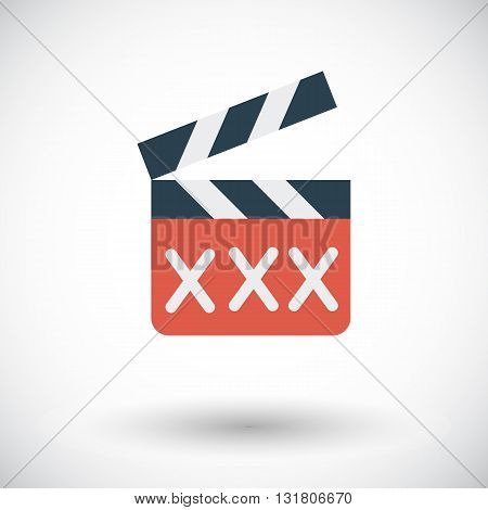Adult movie clapper icon. Flat vector related icon for web and mobile applications. It can be used as - logo, pictogram, icon, infographic element. Vector Illustration.