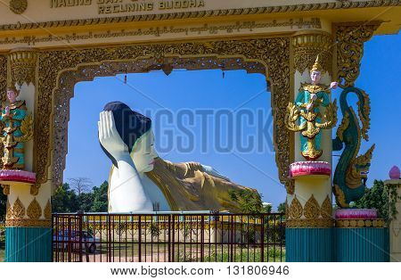 B)ago, Myanmar - January 10, 2012: the huge statue of the reclining Buddha (Shwethalyaung Buddha