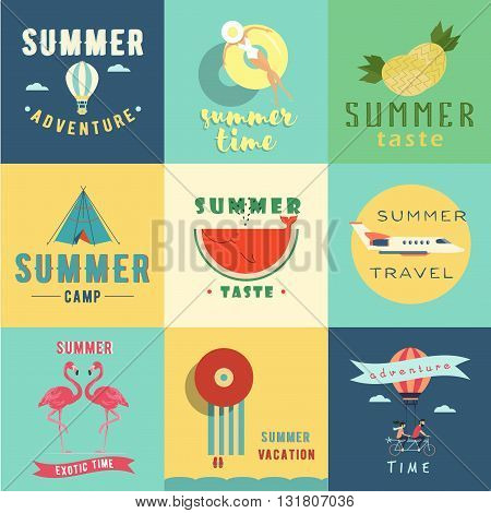 Set of summer logo vector illustration. Summer time. Summer taste. Summer camp. Summer adventure