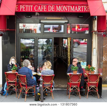 Paris France-May 25 2016 : The petit cafe de Montmartre is traditional French cafe located in Montmartre area of Paris.