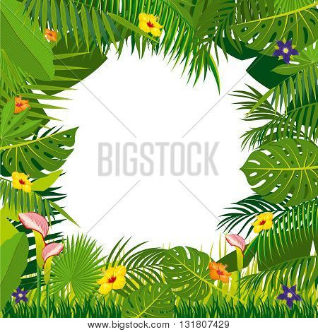 Jungle background with palm tree leaves. Floral frame with tropical flowers and vines, vector illustration
