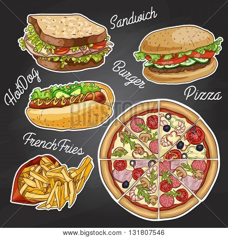 Color fast food on a black board - hamburger, pizza, french fries and hotdog. Vector illustration, eps 10.