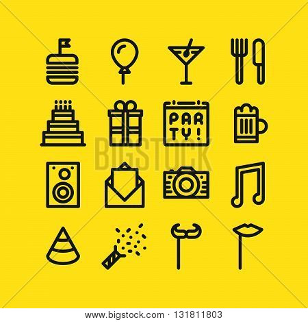 Outline icons for party. Food drink cake music and other symbols