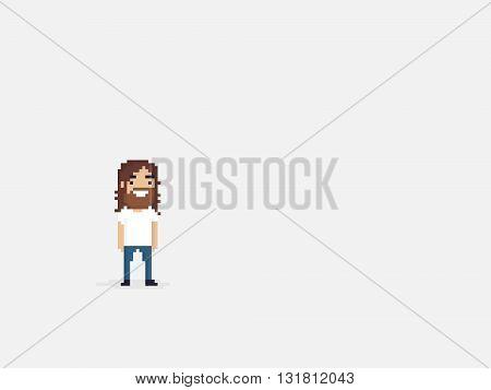 Pixel art happy bearded guy with long hair