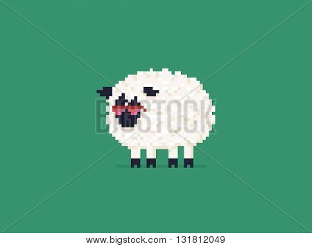 Pixel art sheep in pink sunglasses isolated on green background