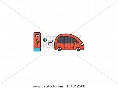Colored line icon of electric car and charging station