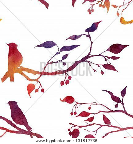 seamless pattern with silhouettes of birds at tree drawing in watercolor, hand drawn waxwings at branches of wild apple tree, hand drawn watercolor background
